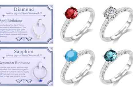 Groupon Goods Global GmbH - Philip Jones Birthstone Ring with Crystals from Swarovski - Save 69%
