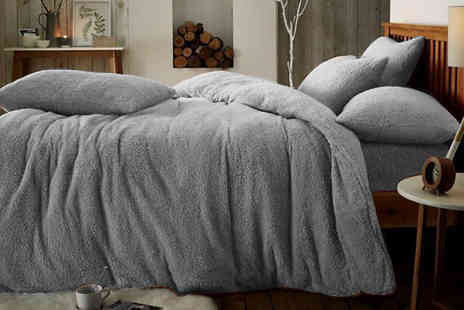Groundlevel - Teddy Fleece Duvet Set and Pillowcase Set Choose from 7 Colours - Save 75%