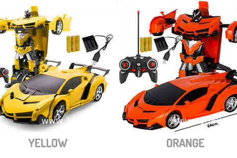 WowWhatWho - 2 in 1 Remote Control Transforming Car and Robot Toy Choose from 5 Colours - Save 72%