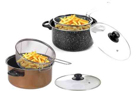 Groupon Goods Global GmbH - Black Marble or Copper Deep Fat Fryer 24cm Pan - Save 60%