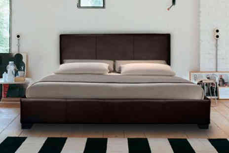 Giomani Designs - Mona modern faux leather bed with mattress options - Save 86%
