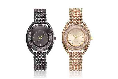 Taylors - Quartz dancing crystal watch with pearl effect strap - Save 81%