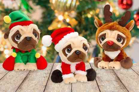 Gift Gadget - Plush Christmas pug choose from three designs - Save 80%