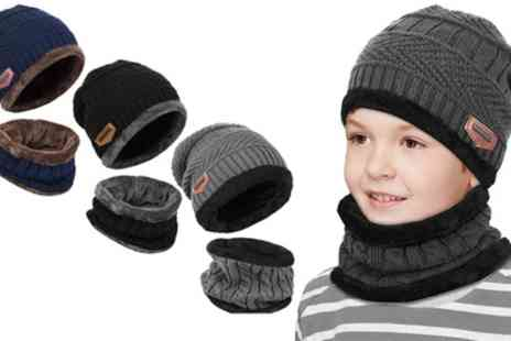 Groupon Goods Global GmbH - One or Two Kids Knitted Beanie Hat and Circle Scarf Sets - Save 65%