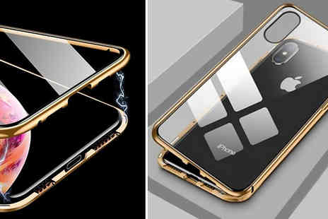 MBLogic - Magnetic Metal Glass Case for iPhone X, XS, XR or XS Max - Save 75%