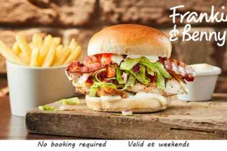 Frankie and Bennys - Two Course A La Carte Meal for Two with Optional Bottle of Wine - Save 56%