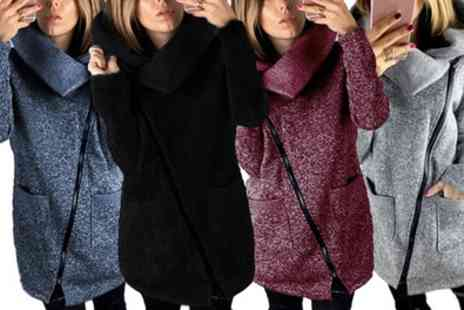 Groupon Goods Global GmbH - One or Two Womens Asymmetric Zip Front Chunky Cardigans - Save 0%