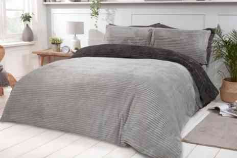 Groupon Goods Global GmbH - Plush Ribbed Fleece Reversible Duvet Set - Save 0%