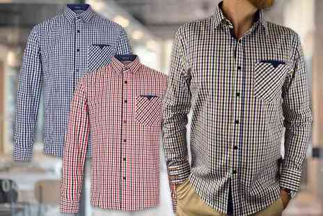 Blu Apparel - Mens cotton long sleeved checked shirt choose from sizes S to XXL - Save 44%