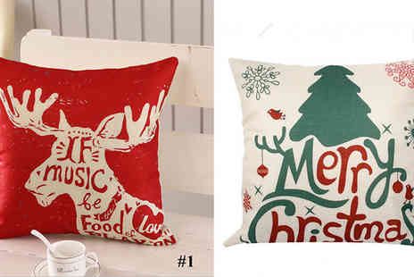 My Blu Fish - 1 or 2 Cotton Christmas Cushion Covers Choose from 9 Designs - Save 80%