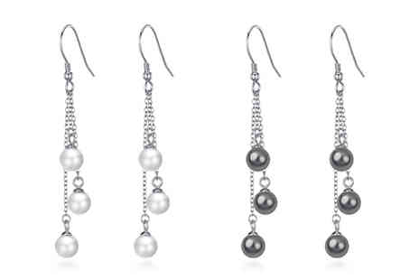 Philip Jones - Pair of Sterling Silver triple pearl drop earrings choose from two colours - Save 56%