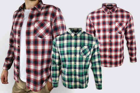 Blu Apparel - Mens long sleeved flannel shirt choose from four colours - Save 0%