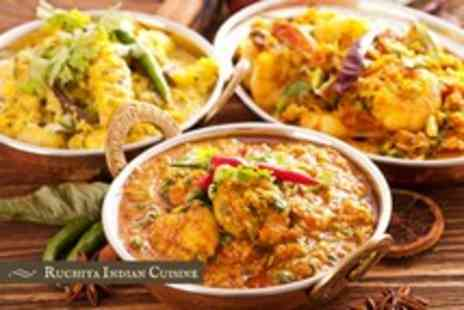 Ruchita - An Indian meal for 2 including a main and rice each plus naan to share - Save 64%