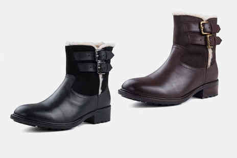 Redfoot - Pair of ladies leather fleece lined boots - Save 0%