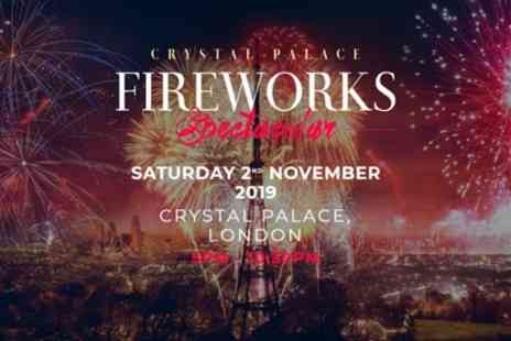 Crystal Palace Fireworks Spectacular - One child, adult or family ticket on 2 November - Save 10%