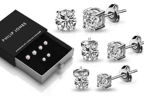 Groupon Goods Global GmbH - Three or Six Pairs of Philip Jones Earrings with Crystals from Swarovski - Save 73%