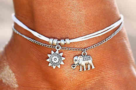 Charmeforever - Elephant and Sun Boho Charm Anklet - Save 73%