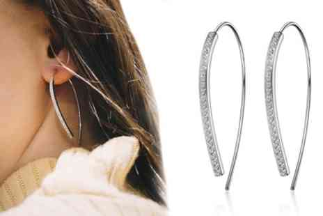 Groupon Goods Global GmbH - One or Two Pairs of Phillip Jones Thread Earrings with Crystals from Swarovski - Save 67%