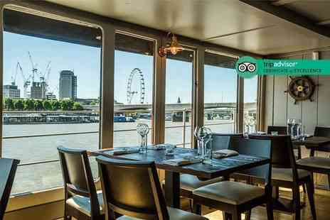 The Yacht London - Three course dinner with a glass of bubbly each - Save 50%