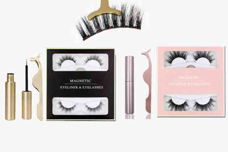 hey4beauty - Two pairs of magnetic eyelashes with eyeliner and tweezers - Save 60%