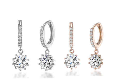 Philip Jones - Pair of solitaire drop earrings made with crystals from Swarovski choose your colour - Save 56%