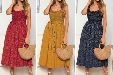 Yello Goods - Polka dot midi dress in blue, red or yellow choose from 8 To 14 sizes - Save 59%