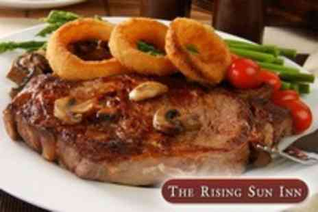 The Rising Sun Inn - Two Course Pub Meal For Two Such As Steak With Bottle of Wine and Coffees - Save 54%