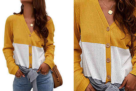Aha Trading - Block Colour Buttoned Cardigan Choose from 3 Colours and Sizes - Save 84%