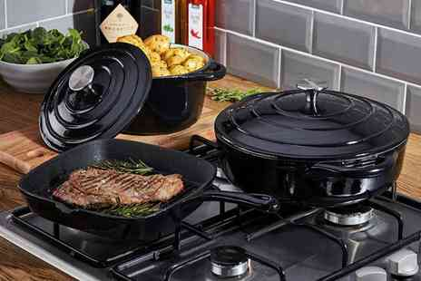 CJ Offers - Cooks Professional three piece cast iron cookware set - Save 60%