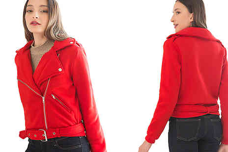 Aha Trading - Cross Zip Belted Jacket Choose from 2 Colours and 4 Sizes - Save 80%