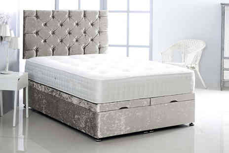Serene - Crushed velvet ottoman bed choose from five sizes and seven colours - Save 49%